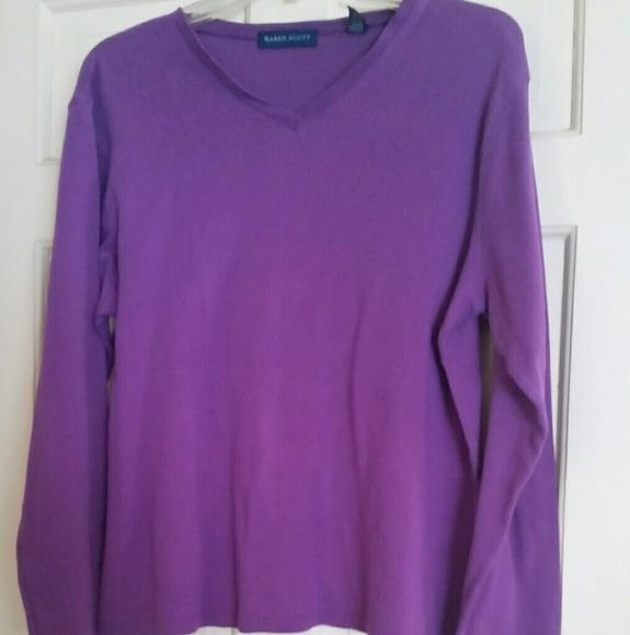 Karen Scott Tops - Karen Scott Purple Long Sleeve Top Sz M